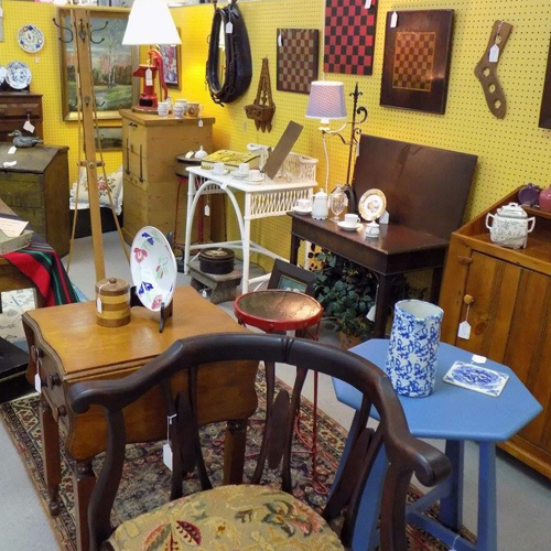 Antiques, collectibles, or vintage items on display by Dealer 244 at Warson Woods Antiques Gallery.