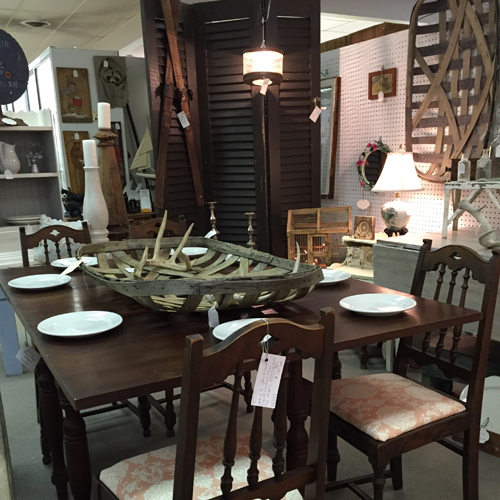 Antiques, collectibles, or vintage items on display by Dealer 37 at Warson Woods Antiques Gallery.